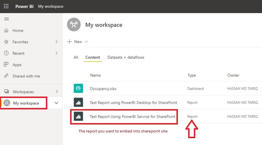 Embed PowerBI Report into SharePoint Step 3